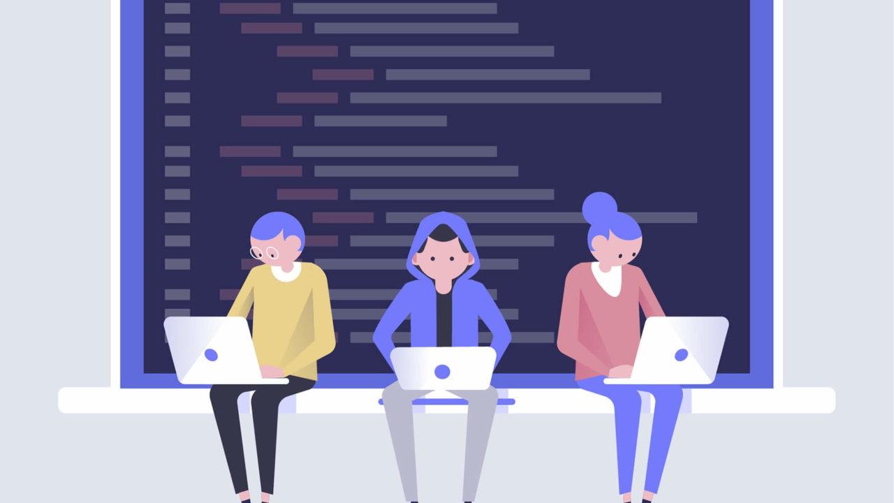 プログラミングをする3人